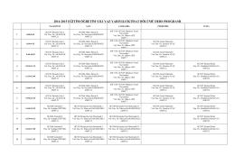 2014-2015 yılı İktisat Bölümü Yaz Okulu Ders Programı