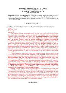 Marmara CMH-I Vize Cevap Anahtarı-2015