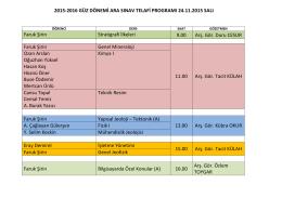 2015-2016 Güz Dönemi Arasınav Telafi Sınav Programı
