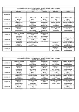 İŞL 2015-2016 Güz Ders Programı.xlsx