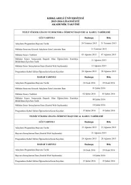 Lisansüstü Akademik Takvim 2015-2016