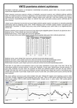 VMTD puanlama sistemi açıklaması