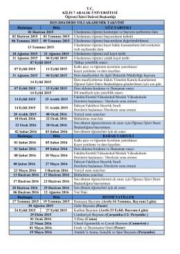 TC KİLİS 7 ARALIK ÜNİVERSİTESİ Öğrenci İşleri Dairesi Başkanlığı