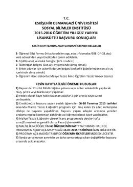 tc eskişehir osmangazi üniversitesi sosyal bilimler enstitüsü 2015