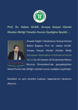 Prof. Dr. Hakan ACAR, Avrupa Sosyal Hizmet Okulları Birliği