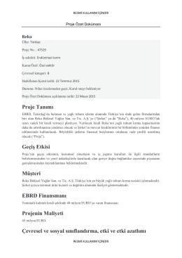 Proje Tanımı Geçiş Etkisi Müşteri EBRD Finansmanı Projenin