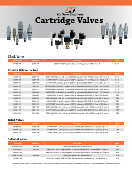 Cartridge Valves - Heavy Motions Inc.