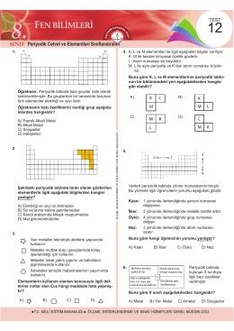 8. Sınıf Fen Bilimleri Kazanım Kavrama Testi 12