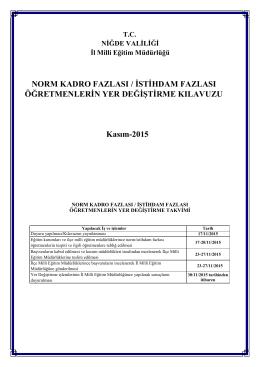 NORM KADRO FAZLASI / İSTİHDAM FAZLASI ÖĞRETMENLERİN