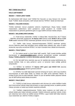 EK-B 1 REF: TUSAŞ Satış 2015-2 İHALE ŞARTNAMESİ MADDE 1