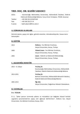 CV - KMÜ Mühendislik Fakültesi Elektrik Elektronik Mühendisliği