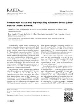 Romatolojik hastalarda biyolojik ilaç kullan›m› öncesi (viral) hepatit