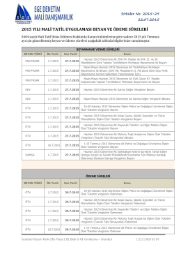 2015 yılı mali tatil uygulaması beyan ve ödeme süreleri