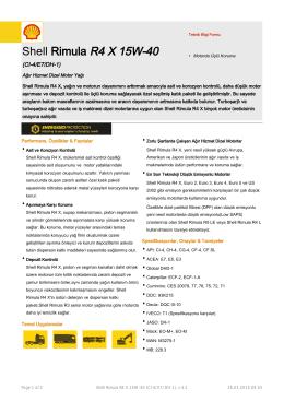 Page 1 Teknik Bilgi Formu Shell Rimula R4 X 15W-40 (CI