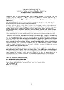 eczacıbaşı yatırım ortaklığı a.ş. 13 nisan 2015 tarihli, 2014 yılına ait