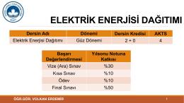 ELEKTRİK ENERJİ DAĞITIMI