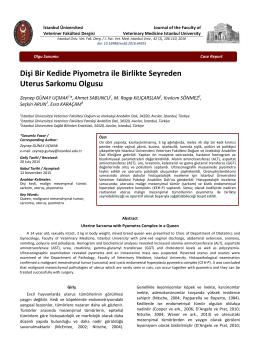 İngilizce Başlık - istanbul üniveristesi veteriner fakültesi dergisi