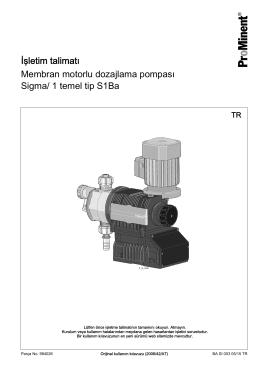Membran motorlu dozajlama pompası, Sigma/ 1 temel