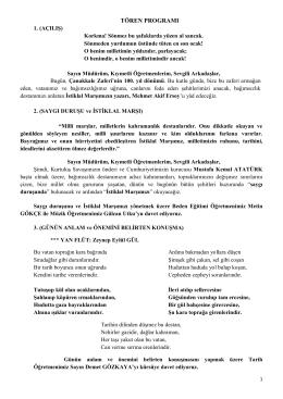 2014-2015 12-18 Mart TÖREN PROGRAMI - Dr.Binnaz Ege