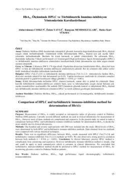 HbA1c Ölçümünde HPLC ve Türbidimetrik Immüno
