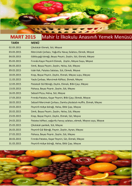 Mart ayı yemek listesi