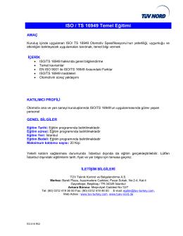 ISO / TS 16949 Temel Eğitimi