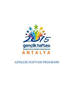 gençlik haftası programı - Antalya Gençlik ve Spor İl Müdürlüğü