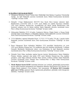 haziran 2015 meclis karar özeti