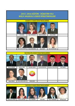 Öğretmenlerimiz - Bolu Anadolu Lisesi