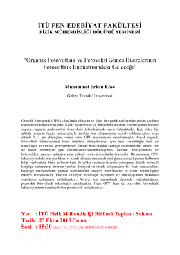 Organik Fotovoltaik ve Perovskit Güneş