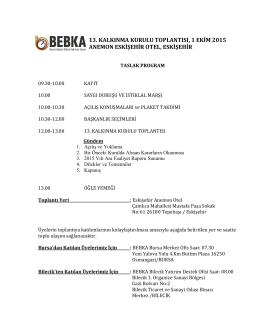 13. kalkınma kurulu toplantısı, 1 ekim 2015 anemon eskişehir otel