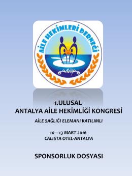 1.ulusal antalya aile hekimliği kongresi