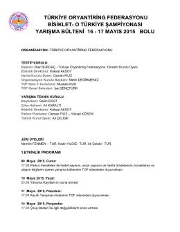 17 mayıs 2015 bolu - Türkiye Oryantiring Federasyonu