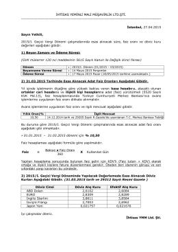 2015/I. Geçici Vergi Dönemi çalışmalarında esas