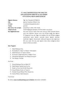 Ders İzlencesi - Mustafa Çetinkaya Kişisel İnternet Sitesi