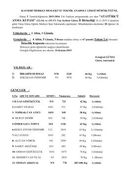 14-kasım-2015-atatürk`ü anma kupası