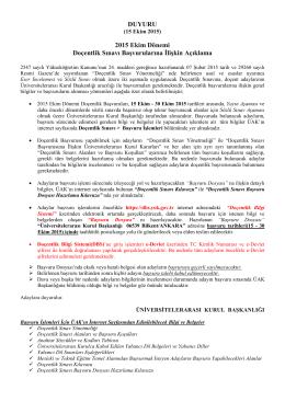 DUYURU 2015 Ekim Dönemi Doçentlik Sınavı Başvurularına Đlişkin