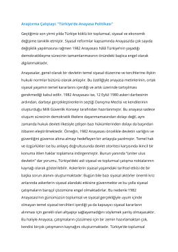 """Araştırma Çalıştayı: """"Türkiye`de Anayasa Politikası"""""""