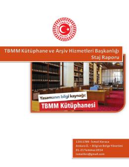 TBMM Kütüphane ve Arşiv Hizmetleri Başkanlığı Staj