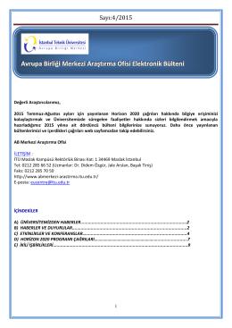 Bülten Temmuz Ağustos 2015 - Avrupa Birliği Merkezi Araştırma Ofisi