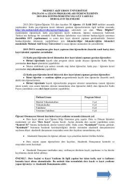 Ders Kayıtları - Mehmet Akif Ersoy Üniversitesi Öğrenci İşleri Daire