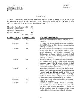 4 Mayıs 2015 Tarihli Meclis Karar Özeti