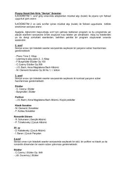 Piyano Sanat Dalı - Bilkent Üniversitesi Müzik ve Sahne Sanatları