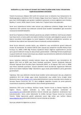 aksigorta a.ş. 2014 yılına ait 20 mart 2015 tarihli olağan genel kurul