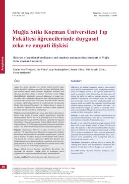 PDF - Muğla Sıtkı Koçman Üniversitesi Tıp Fakültesi öğrencilerinde
