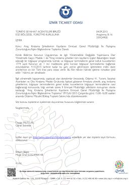 TÜRKİYE SEYAHAT ACENTELERİ BİRLİĞİ 04.09.2015 EGE