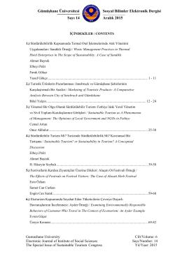 Table of contents - Gümüşhane Üniversitesi Sosyal Bilimler