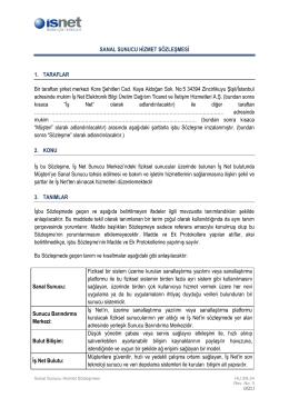 İşNet İşteSanalSunucu Hizmeti Sözleşmesi