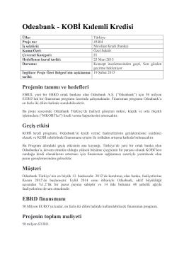 Odeabank - KOBİ Kıdemli Kredisi