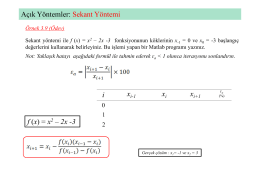 Açık Yöntemler: Sekant Yöntemi f (x) = x2 – 2x